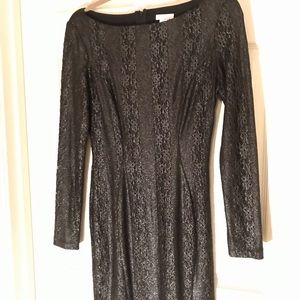 Cache Black Silver Sparkle Lace Dress